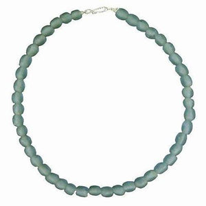 Sky Blue Pearl Glass Bead Necklace (GC) Ghanaian Collection