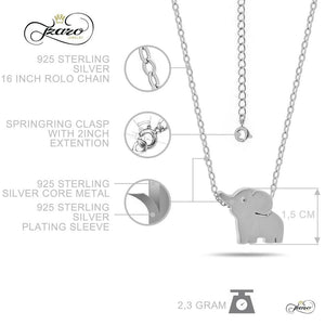Small Elephant Necklace, 925 Sterling Silver, Silver Plated Mini Elephant Necklace Women - Jewelry - Necklaces