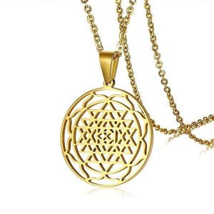 Sri Yantra Mandala Pendant Necklace in Black Lucky Charm Stainless Steel Blessed Energized Spiritual Jewelry 24 inch Light Yellow Gold Color Pendant Necklaces