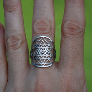 Sri Yantra rings Silver plated Ring for women adjustable size Fashion Jewelry Rings