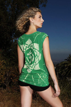 Star Yantra Yoga Tee Shirt OM Aspen Green Women - Apparel - Shirts - T-Shirts