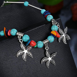 Starfish Anklets in Aquamarine for Beach Anklets