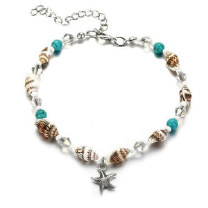 Starfish Anklets in Aquamarine for Beach FCS505 Anklets
