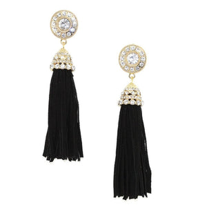Suede Tassel Earrings Black Women - Jewelry - Earrings