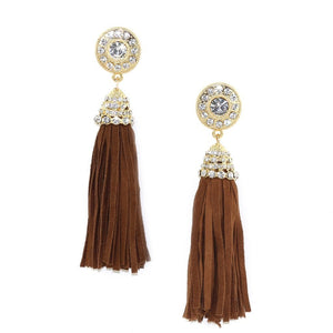 Suede Tassel Earrings Camel Women - Jewelry - Earrings