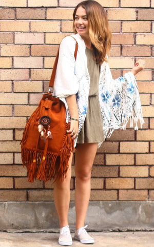 """Summer Dreams"" Oversized Fringe Bucket Bag Bags"