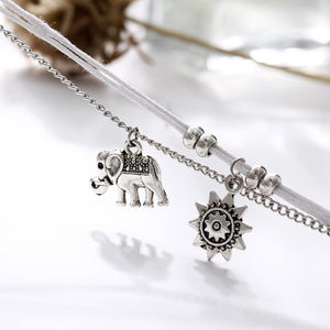 Sun & Silver Elephant Anklet