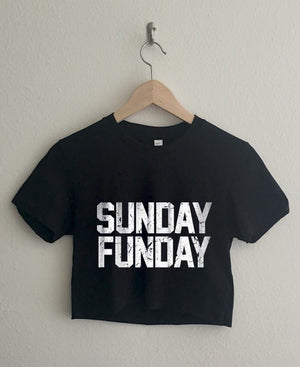 Sunday Funday Short Sleeve Cropped T Shirt Women - Apparel - Shirts - T-Shirts