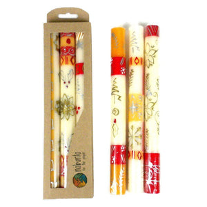 Tall Hand Painted Candles - Three in Box - Kimeta Design (GC) Candles