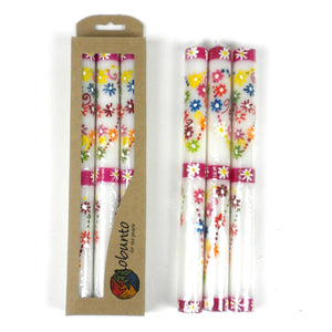 Tall Hand Painted Candles - Three in Box - Mamoko Design (GC) Candles