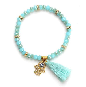 Tassel Beads Bracelet in 8 Colors Blue Strand Bracelets