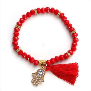 Tassel Beads Bracelet in 8 Colors Red Strand Bracelets