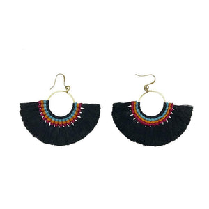 Tassel Fan Earrings Black Women - Jewelry - Earrings