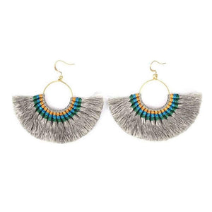 Tassel Fan Earrings Gray Women - Jewelry - Earrings