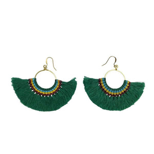 Tassel Fan Earrings Green Women - Jewelry - Earrings