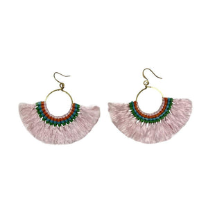 Tassel Fan Earrings Pink Women - Jewelry - Earrings