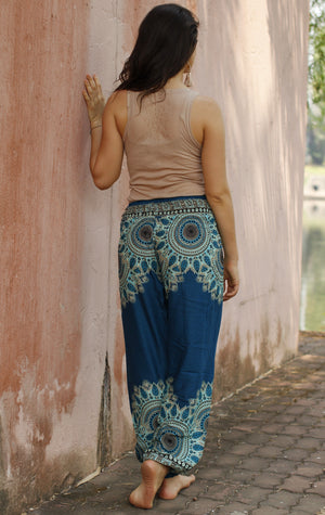 Teal Blue Spirit Mandala Harem Pants Standard / Blue Harem Pants