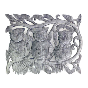 "Three Owls Metal Wall Art (11"" x 14"") (GC) Metal Wall Art"