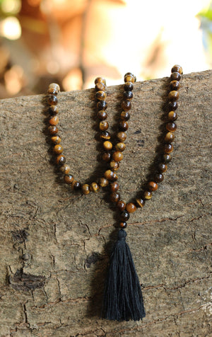 Tiger Eye Buddhist Mala Beads Necklace with Black Tassels Women - Jewelry - Necklaces