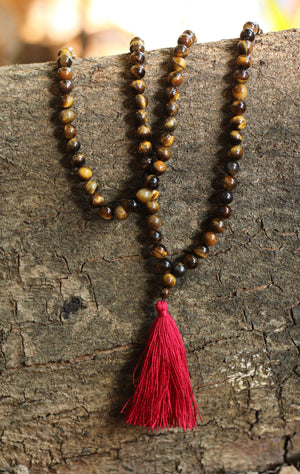 Tiger Eye Buddhist Mala Beads Necklace with Red Tassels Women - Jewelry - Necklaces
