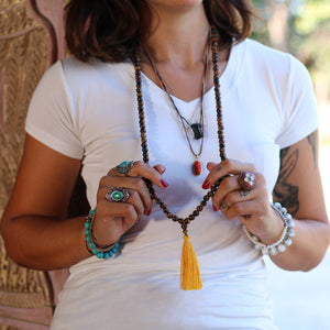 Tiger Eye Buddhist Mala Beads Necklace with Yellow Tassels Women - Jewelry - Necklaces