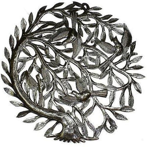 Tree of Life with Curved Trunk Metal Wall Art 24-inch Diameter (GC) Metal Wall Art