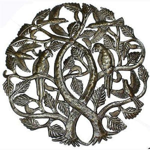 Tree of Life with Parrots 24-inch Metal Art (GC) Metal Wall Art