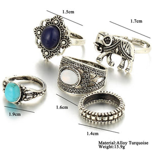 Turquoise Elephant Lover RIng Set
