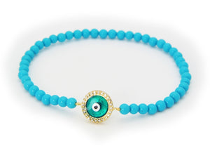 Turquoise Evil Eye Bracelet Default Title Women - Jewelry - Bracelets