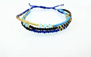 Turquoise Gold Crystal Glass Beads Friendship Bracelet Blue Strand Bracelets