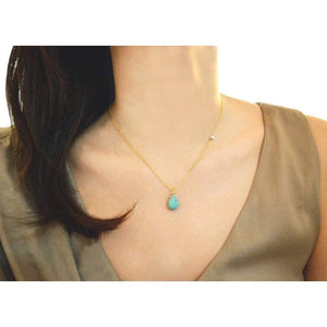 Turquoise sideways gold necklace Women - Jewelry - Necklaces