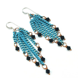 Turquoise Tassel Chain Black Crystal Earrings Men - Jewelry - Earrings