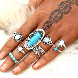 Turquoise Travels Boho Ring Set