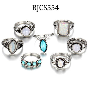 Turquoise Travels Boho Ring Set RJCS551