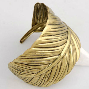 Vintage Boho Leaf Bangle Antique Gold
