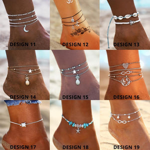 Vintage Gold Silver Multilayer Bohemian Anklets with Moon, Map Beads Leaves Anklets