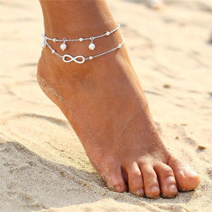 Vintage Gold Silver Multilayer Bohemian Anklets with Moon, Map Beads Leaves BJCS051silver Anklets