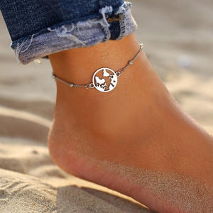 Vintage Gold Silver Multilayer Bohemian Anklets with Moon, Map Beads Leaves FCS043A1 Anklets