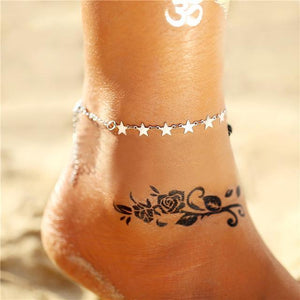 Vintage Gold Silver Multilayer Bohemian Anklets with Moon, Map Beads Leaves FCS043A4 Anklets