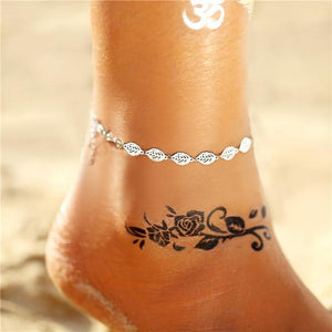 Vintage Gold Silver Multilayer Bohemian Anklets with Moon, Map Beads Leaves FCS043A5 Anklets