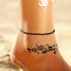 Vintage Gold Silver Multilayer Bohemian Anklets with Moon, Map Beads Leaves FCS043A6 Anklets