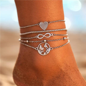 Vintage Gold Silver Multilayer Bohemian Anklets with Moon, Map Beads Leaves FCS1622 Anklets