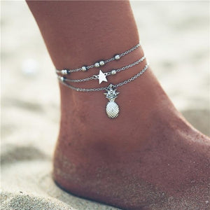 Vintage Gold Silver Multilayer Bohemian Anklets with Moon, Map Beads Leaves FCS169825 Anklets