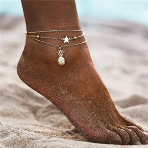 Vintage Gold Silver Multilayer Bohemian Anklets with Moon, Map Beads Leaves FCS169851 Anklets
