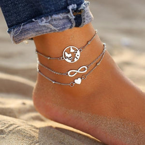 Vintage Gold Silver Multilayer Bohemian Anklets with Moon, Map Beads Leaves FCS1780 Anklets