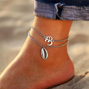 Vintage Gold Silver Multilayer Bohemian Anklets with Moon, Map Beads Leaves FCS1781 Anklets