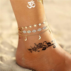 Vintage Gold Silver Multilayer Bohemian Anklets with Moon, Map Beads Leaves FCS1819 Anklets