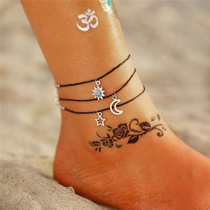 Vintage Gold Silver Multilayer Bohemian Anklets with Moon, Map Beads Leaves FCS1833 Anklets