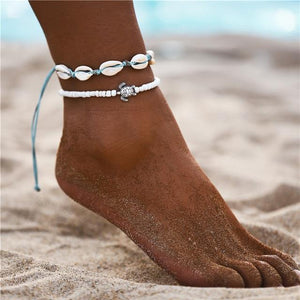 Vintage Gold Silver Multilayer Bohemian Anklets with Moon, Map Beads Leaves FCS1873 Anklets