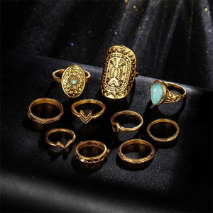 Vintage Mandala Turquoise Ring Set in Gold and Silver Gold Rings
